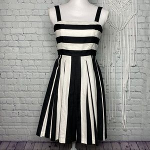 LOFT black and white striped fit and flare dress